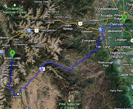 Drive to Breckenridge map