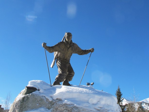 Riverwalk Center skier sculpture