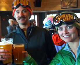 Enjoying apres in Breck