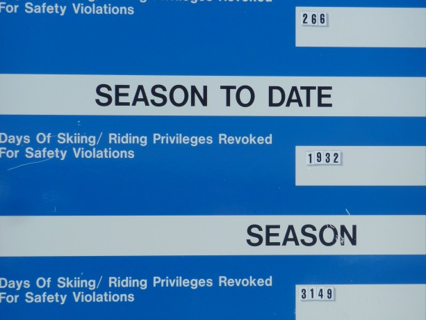 At the base of Peak 8, Breckenridge Ski Resort posts how many passes have been pulled or suspended for the week and per season for not following the Skier's Responsibility Code.