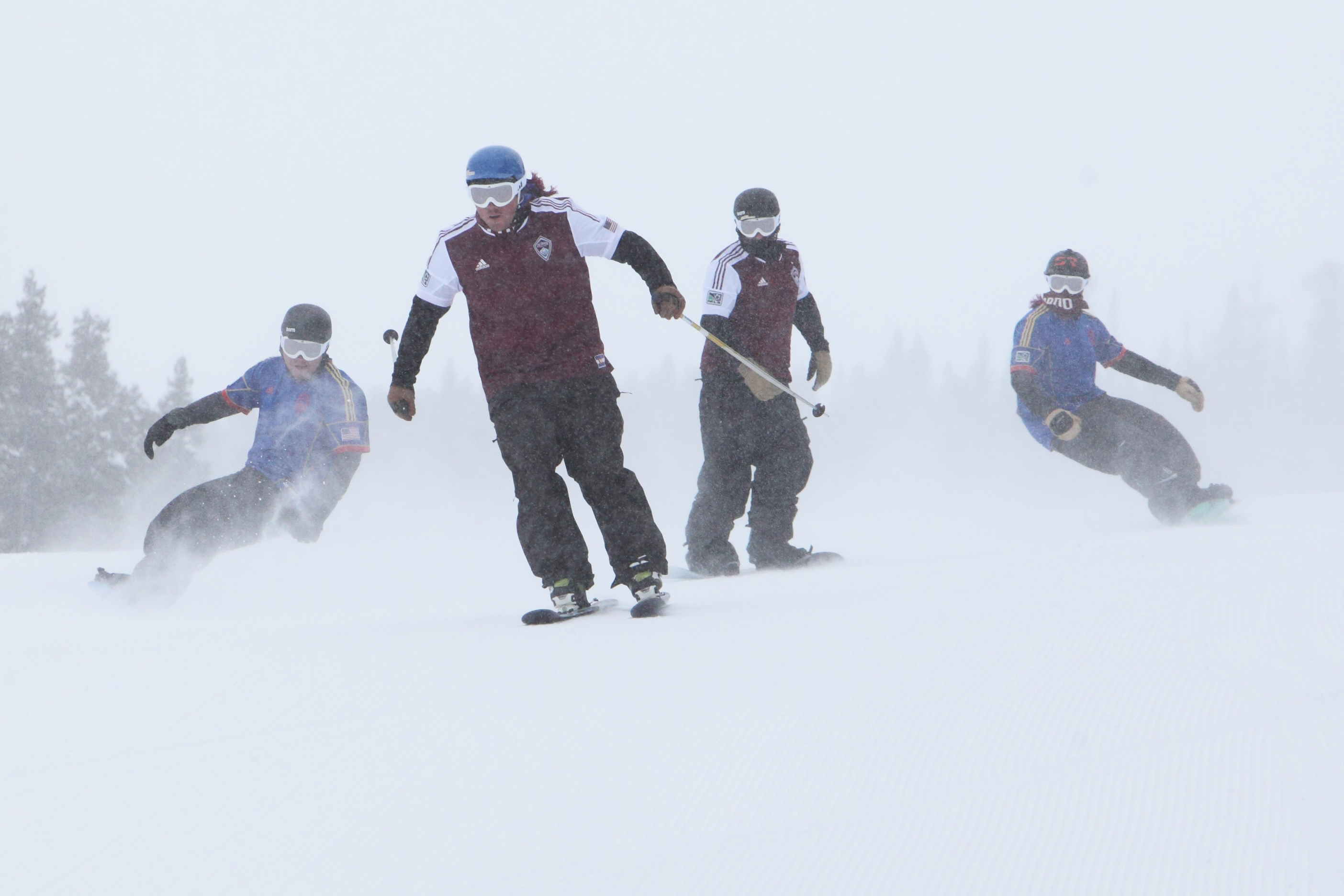 Snowboarding to show off the Colorado Rapids Jersey