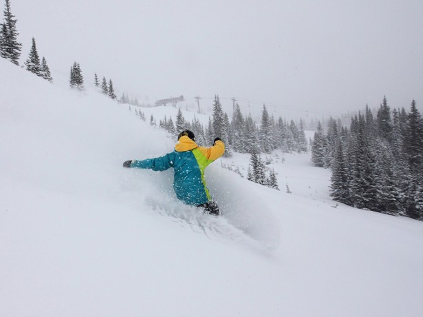 Breck Pro Team rider Leslie Glenn gets in deep.