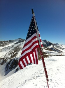 flag on top of Peak 8