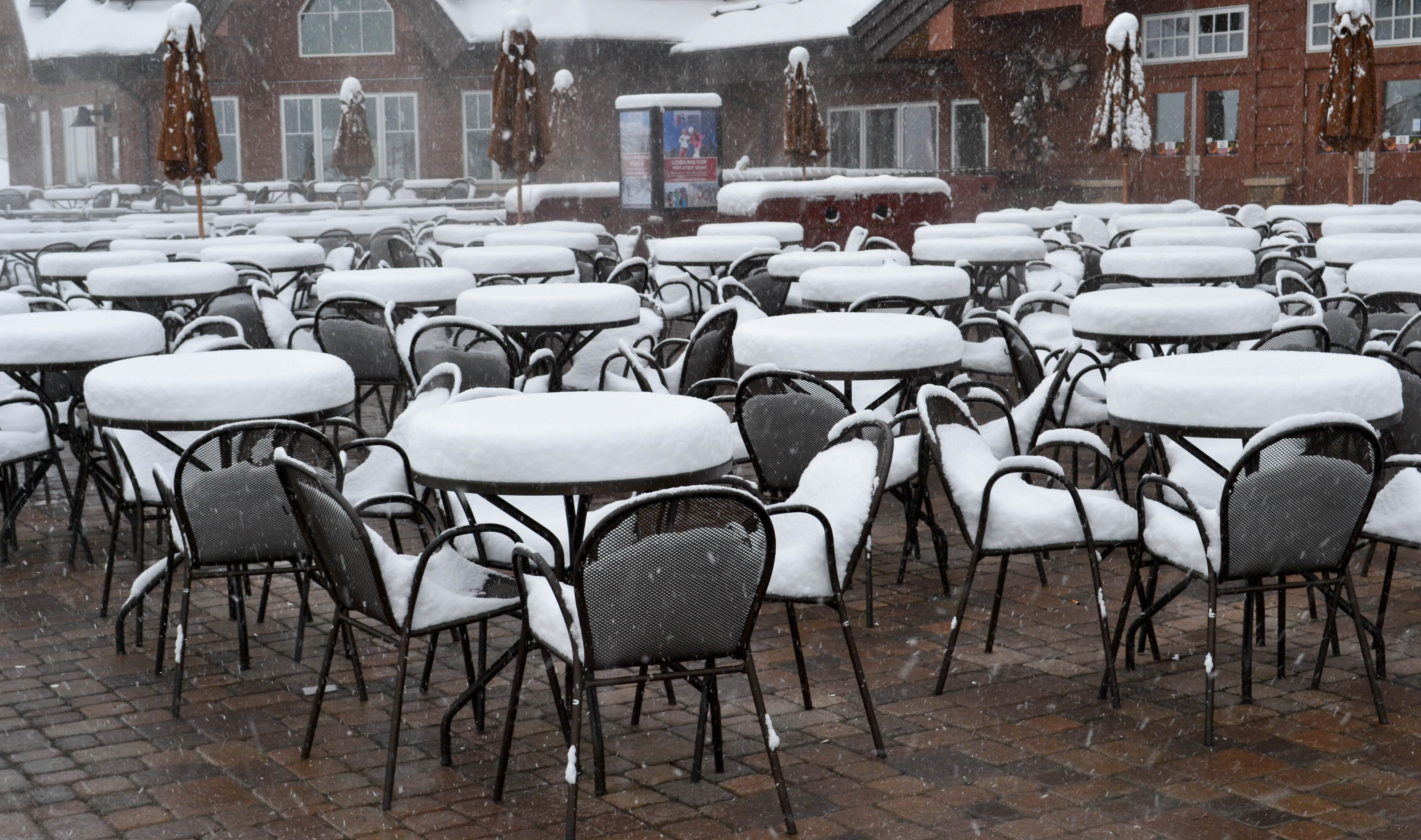 Snow covered tables