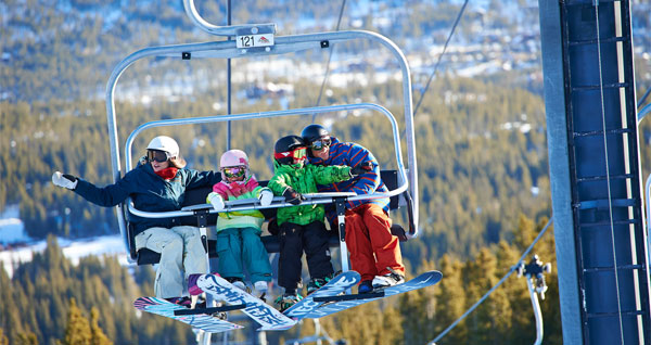 Family on chairlift at breck