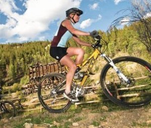 Women mountain biking Breckenridge