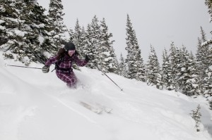 Powder skiing at Breck
