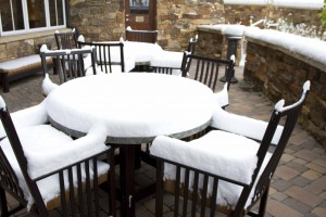Patio table with snow in Breck