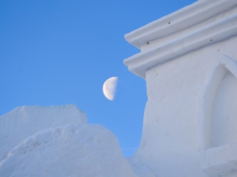 International Snow Sculpture Championships moon