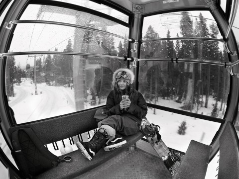Silvia riding the Breck gondola