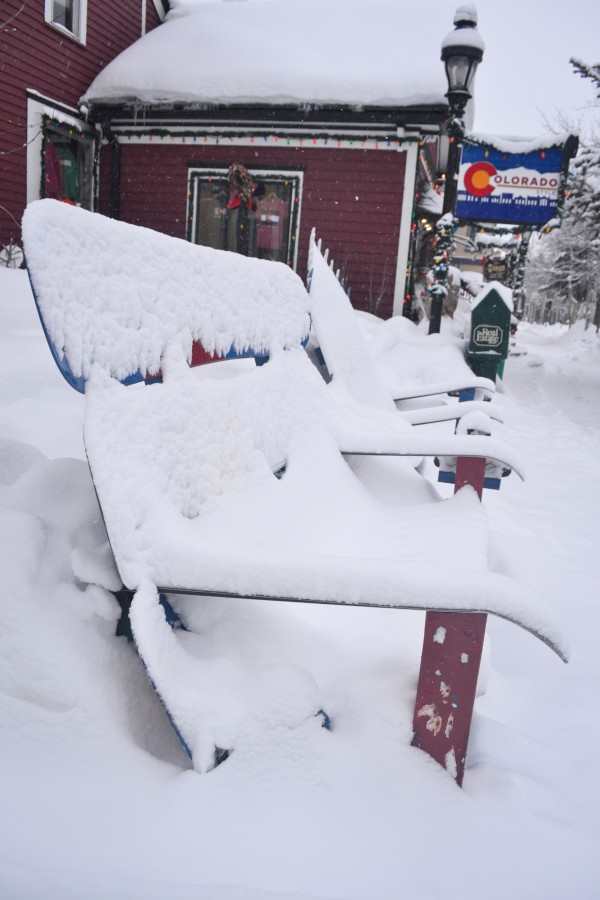Snowy chairs in Breckenridge