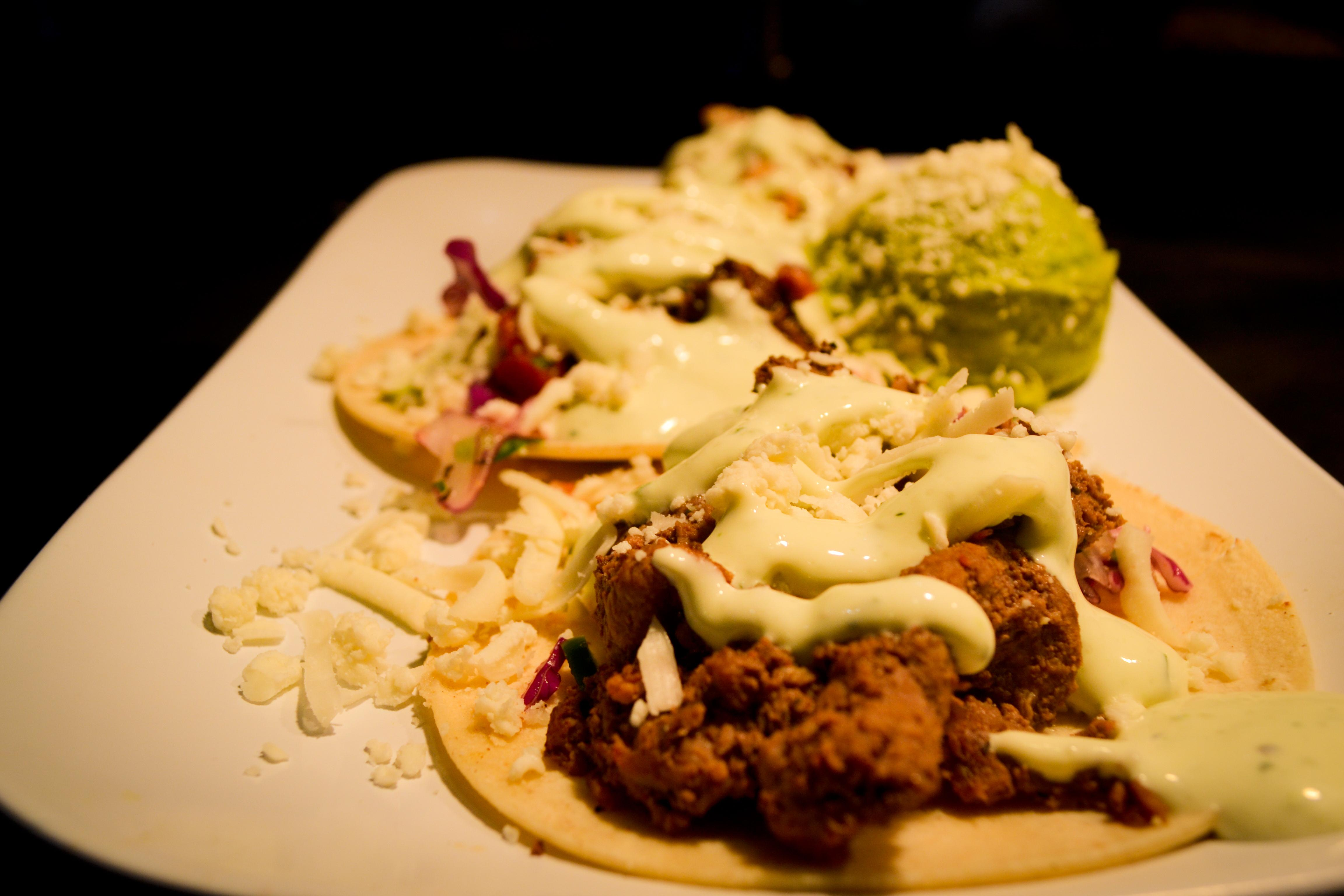 The tacos are made to order and come with various meat choices