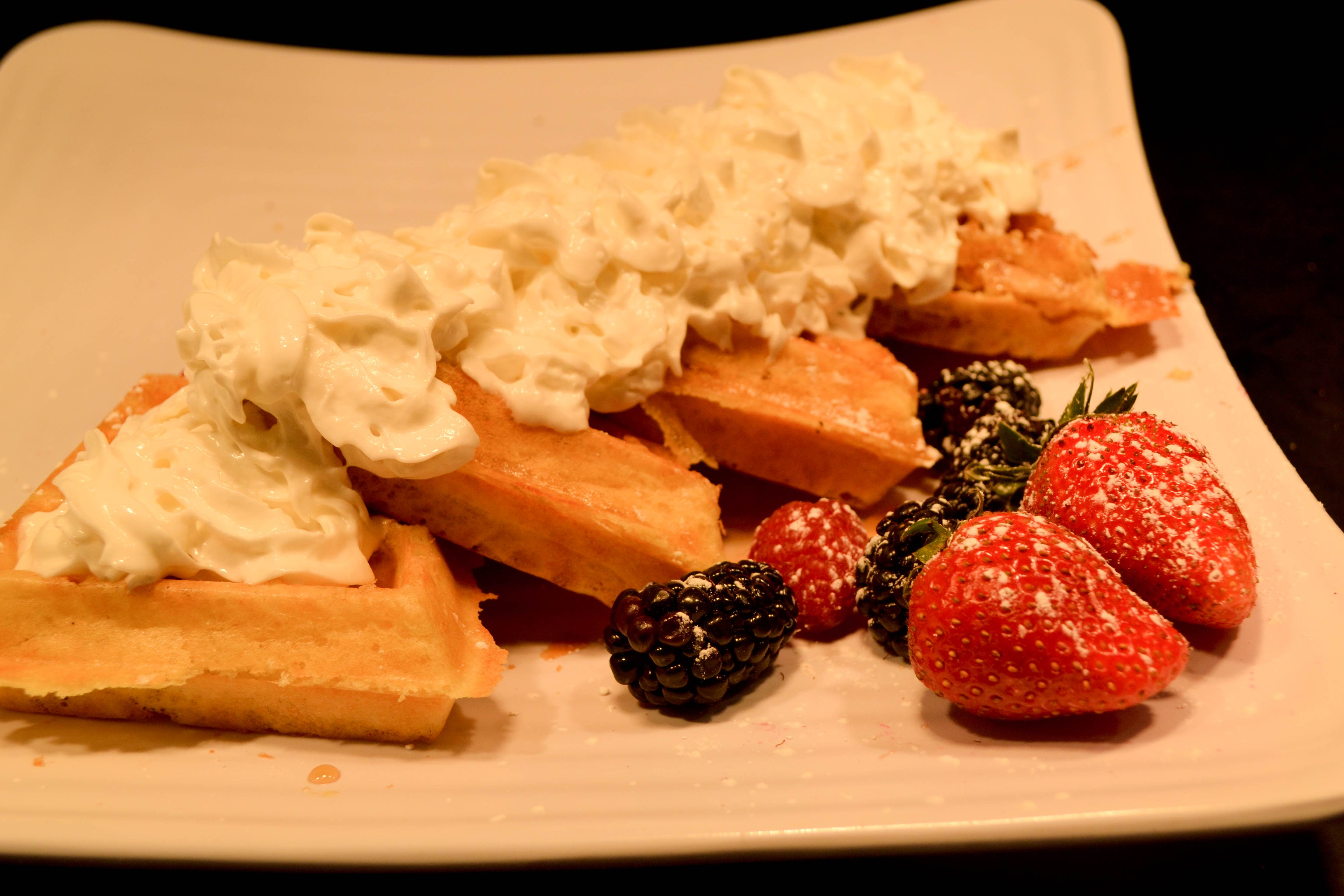 Waffles and fruit for breakfast