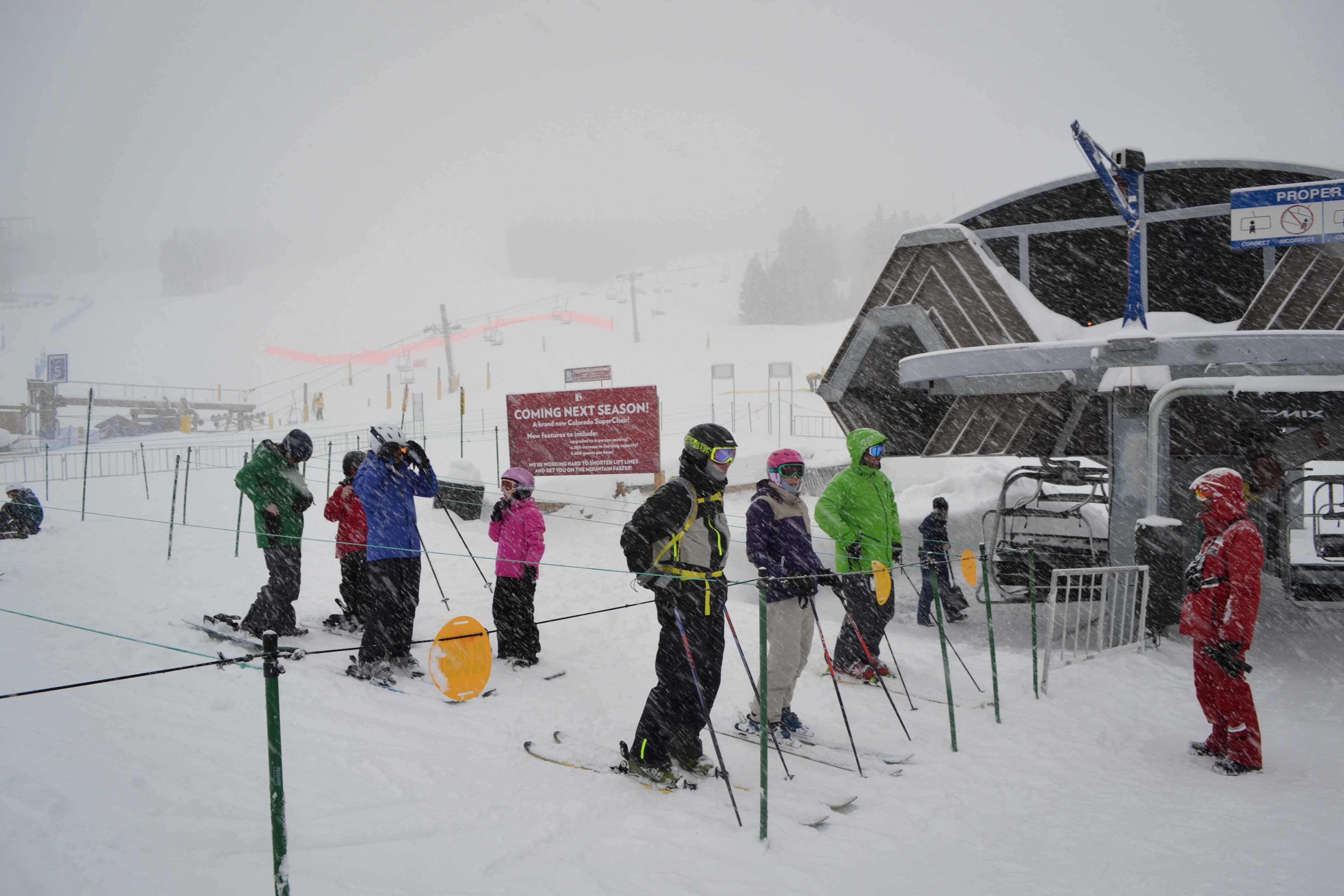 Guests line up early to ski pow