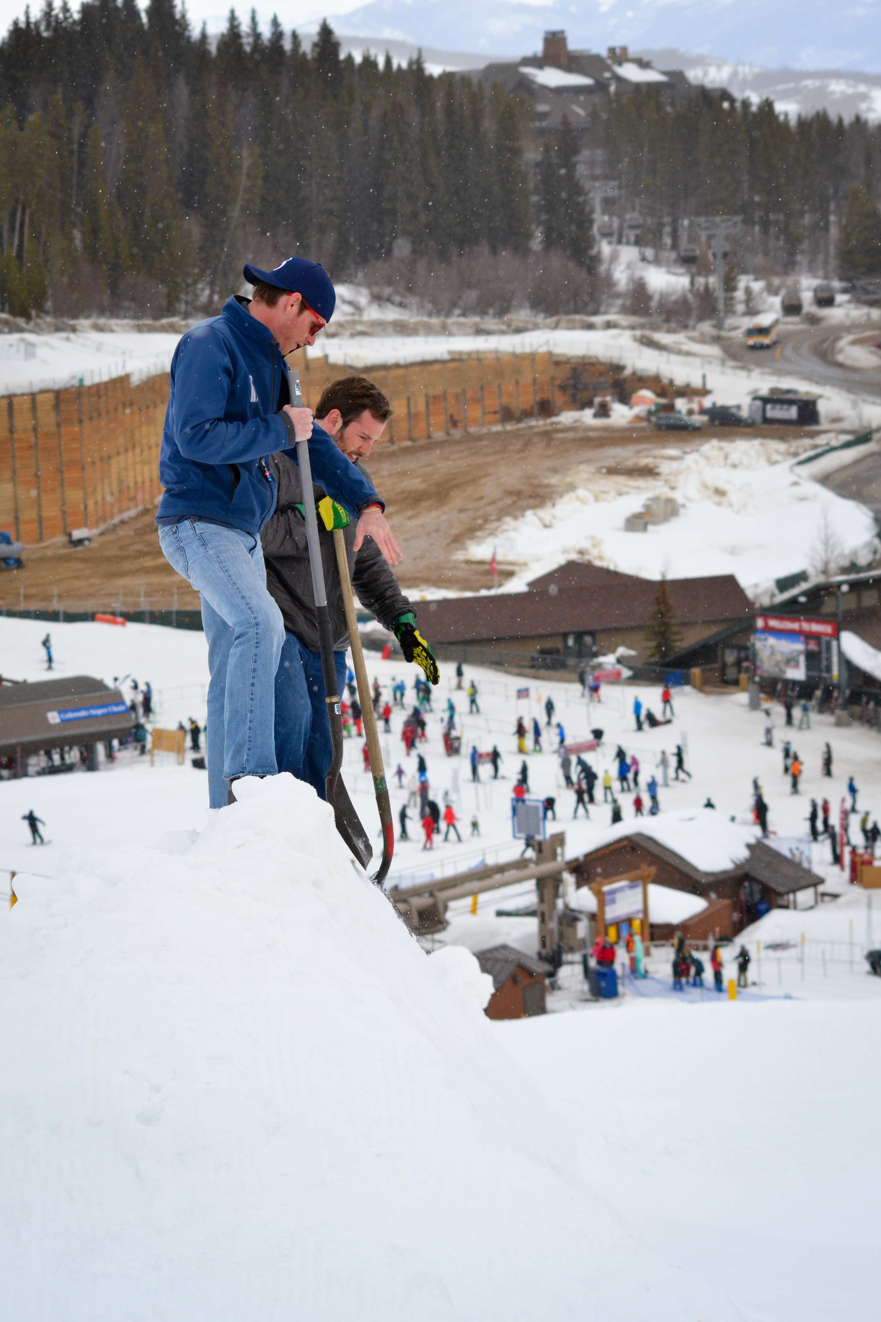 Scoping out the mini-pipe at Breck