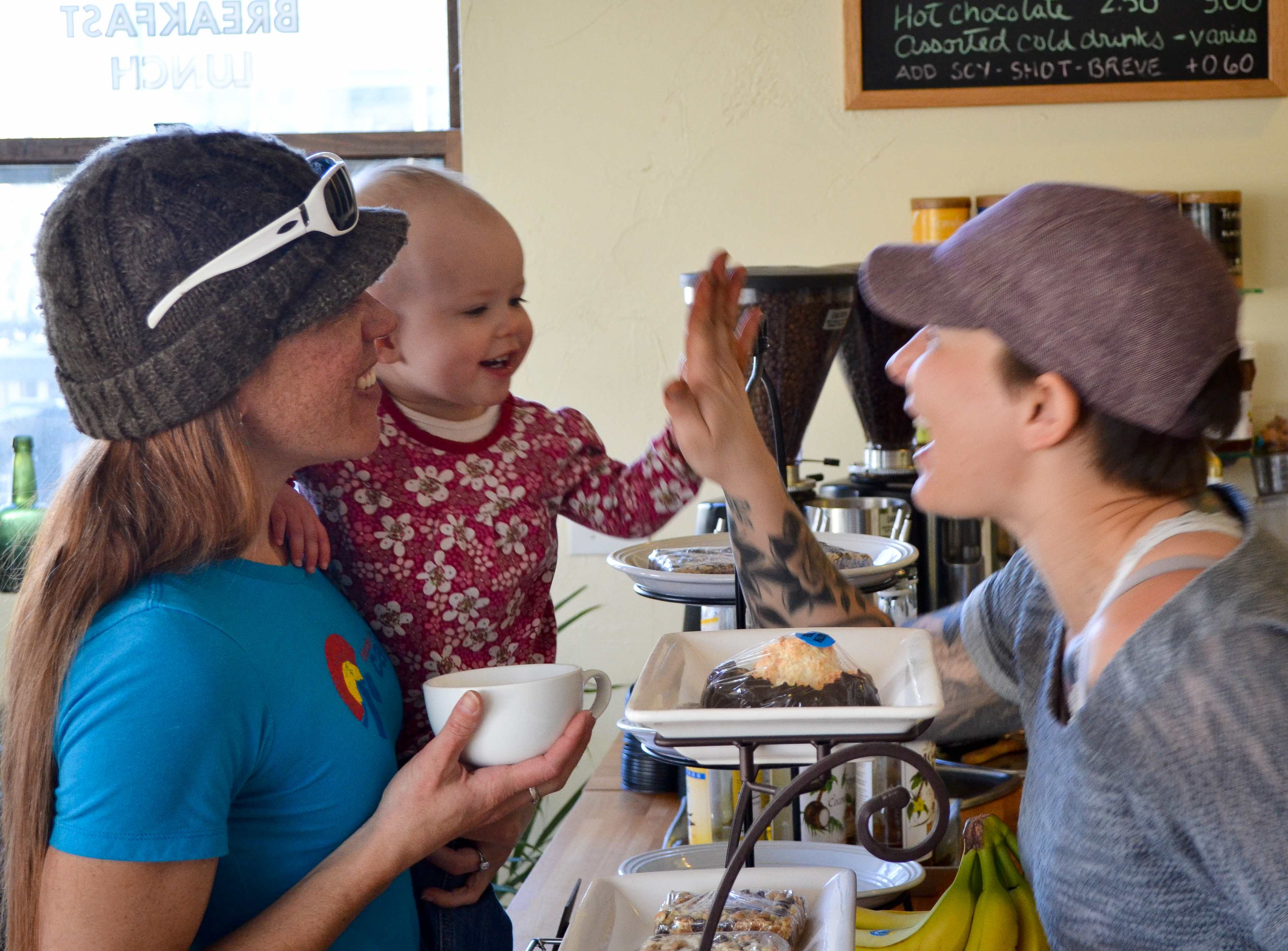 High five at cup of joe Breckenridge