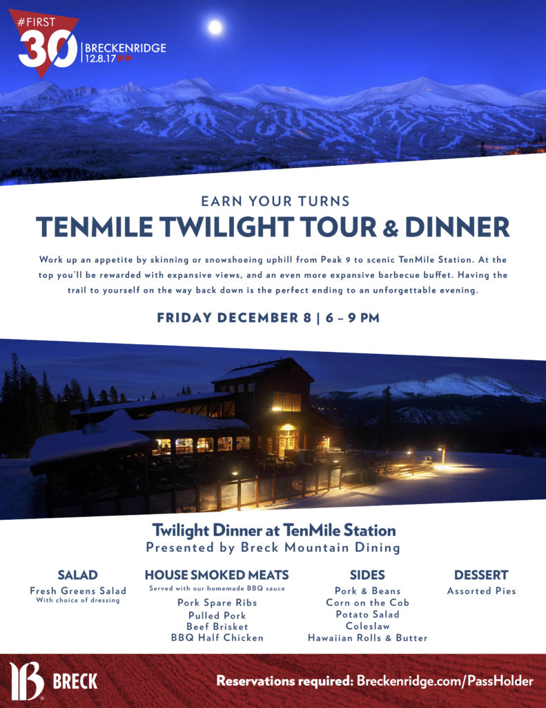 TenMile Twilight Tour and Dinner at Breckenridge for Pass Holder Appreciation